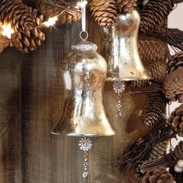 Kerstversiering set van 2 Manon champagne