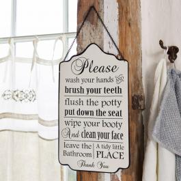 Decoratiebord Bathroom Rules
