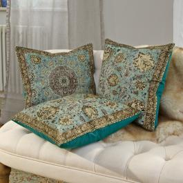 Kussenhoes set van 3 Candice turquoise