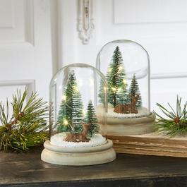 Glazen stolp set van 2 Winterwonderland