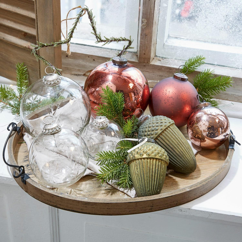 Kerstversiering set van 8 Glaster
