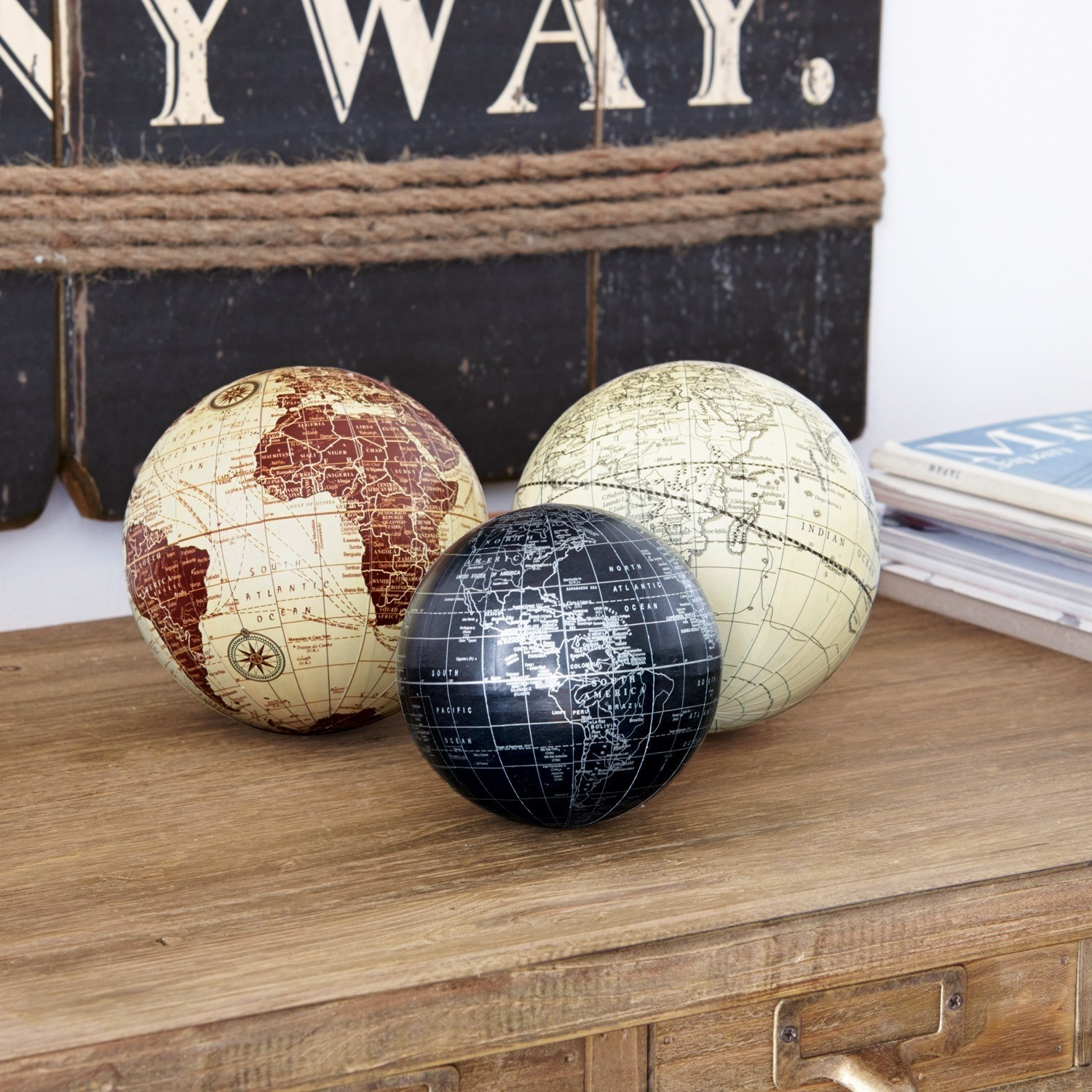 Decoratie ballen set van 3 World