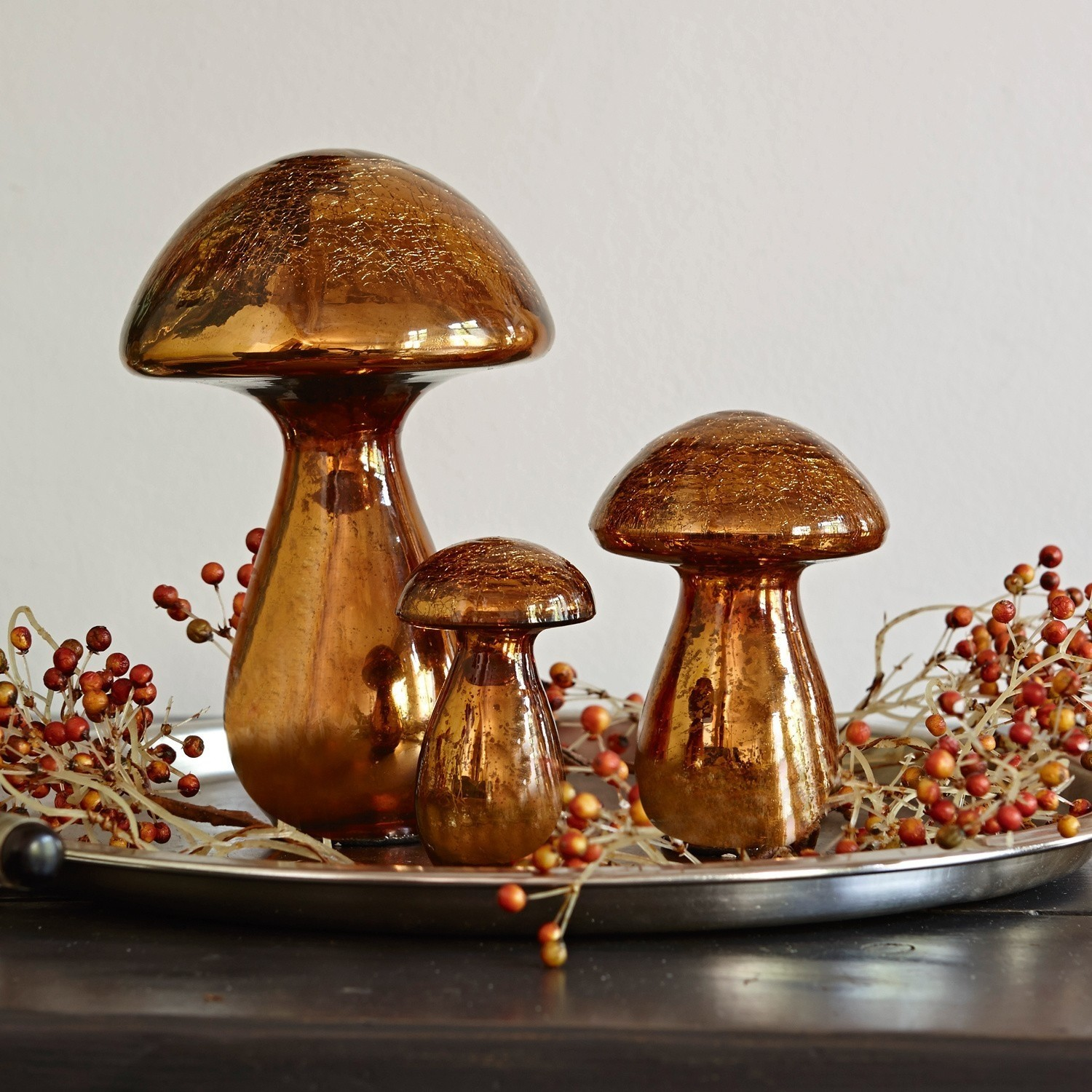 Decoratie paddenstoel set van 3 Mushrooms