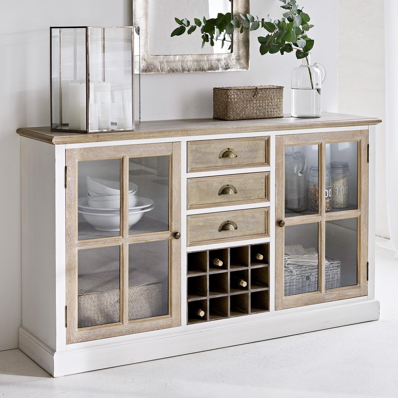 Commode Magoffin LOBERON Kommodes & Sidetables grenenhout, teak, Inzet: glas, Achterwand: mdf